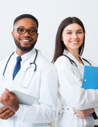 two medical staff smiling