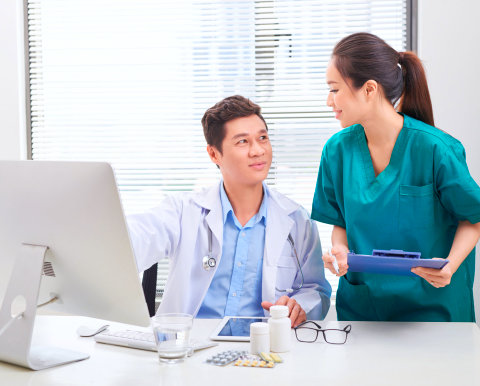 two medical staff talking